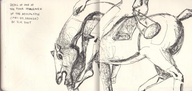Detail Rik Poot's 4 Horsemen Sculpture