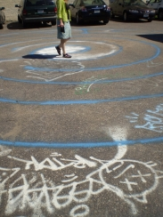 Conference participant walking the Intermedia Arts labyrinth.
